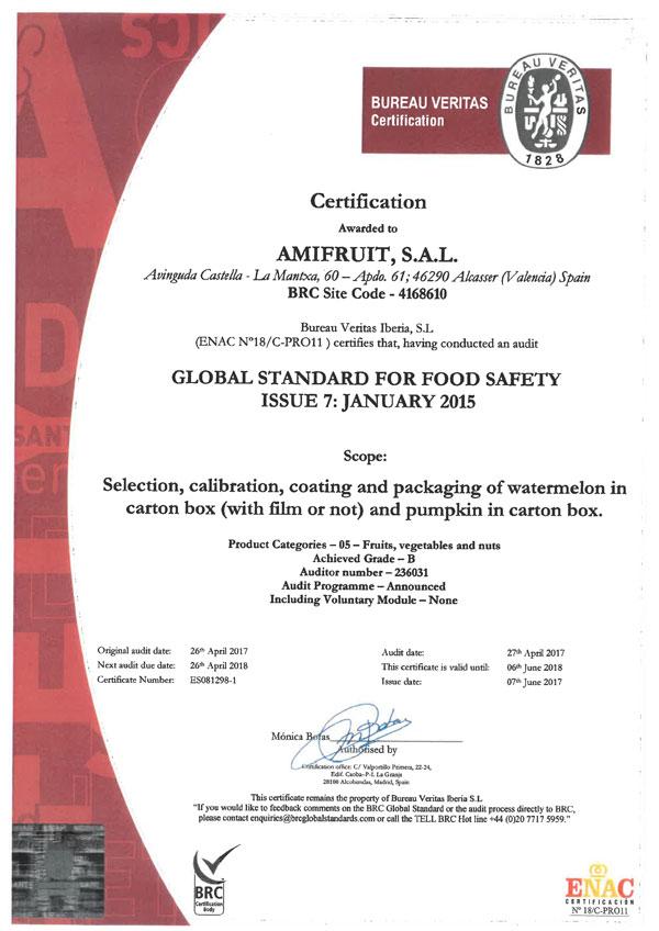 Certificado BRC IFS